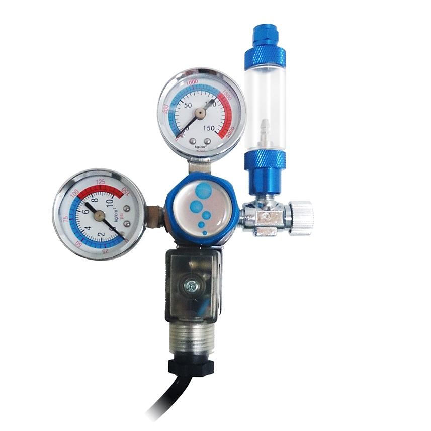 CO2 Regulator w/ 2 Gauges/Solenoid/Bubble Counter