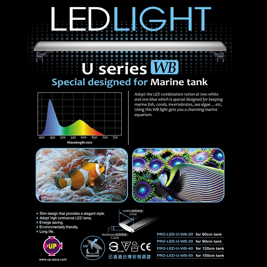 UP Aqua U Series MARINE LED Light (2FT)